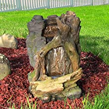 Sunnydaze Rustic Cave Water Fountain with LED Lights 21 Inch Tall