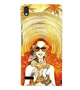 PrintVisa Fashion Beach Girl Dress Design 3D Hard Polycarbonate Designer Back Case Cover for Huawei Acend P6