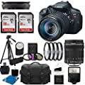 Canon EOS Rebel T5i Digital DSLR Camera Full HD Video with EF-S 18-135mm f/3.5-5.6 IS STM Lens With Auto Power Flash + 4 Close-Up Macro Filter Set + Tripod + 24GB Complete Deluxe Accessory Bundle