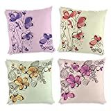ShopMantra Floral Flowers Pattern Printed Cushion Cover Set Of 4 16*16 Inch Multicolor Cushion Cover