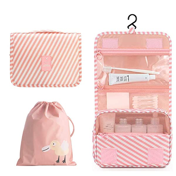 OrgaWise Hanging Travel Toiletry Bag Portable Makeup Pouch Waterproof Travel Hanging Organizer Bag for Women Girls(Pink-twill)