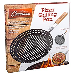 Pizza Grill Pan- Pizza Pan with 100% Non-Stick Surface, Extra High Side Walls and Detachable Handle by Camerons