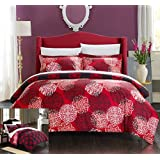 Chic Home 3 Piece Jerome Boho Inspired Reversible Print Duvet Set, King, Red