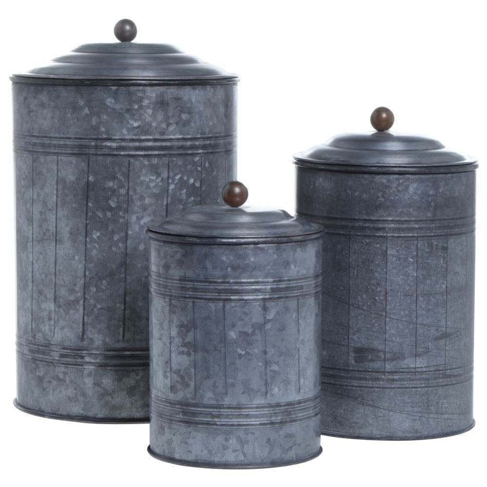 Galvanized Canisters Set of 3 0