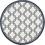 Safavieh Amherst Collection AMT412M Round Indoor/Outdoor Area Rug, 7-Feet Diameter, Ivory and Navy