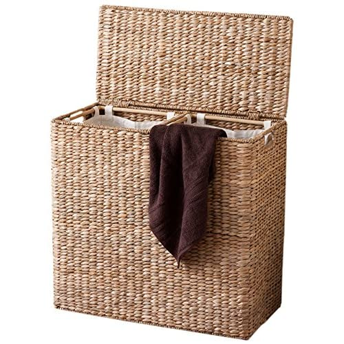 BirdRock Home Oversized Divided Hamper with Liners (Honey) | Made of Natural Woven Seagrass Fiber | Organize Laundry | Cut-Out Handles for Easy Transport | Includes 2 Machine Washable Canvas Liners