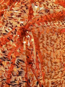 BTY Orange Confetti Sequins on Mesh Fabric Dress Formal or Fun,home Decor