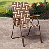 Rio Brands Rio Deluxe Web Lawn Chair, Brown, Steel, 24.25Lx 22.25W x 35.125H Inches