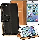 OneFlow PREMIUM - Book-Style Case im Portemonnaie Design mit Stand-Funktion - für Apple iPhone 5C - SCHWARZ