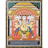 "Dolls Of India ""Five Headed Ganesha"" Orissa Paata Painting On Canvas - Unframed (45.72 X 35.56 Centimeters)"
