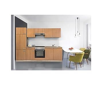 respekta KB220ESW- Bloque de cocina (bloque de cocina (270cm, haya, acero inoxidable vitrocerámica KB 270BBEC