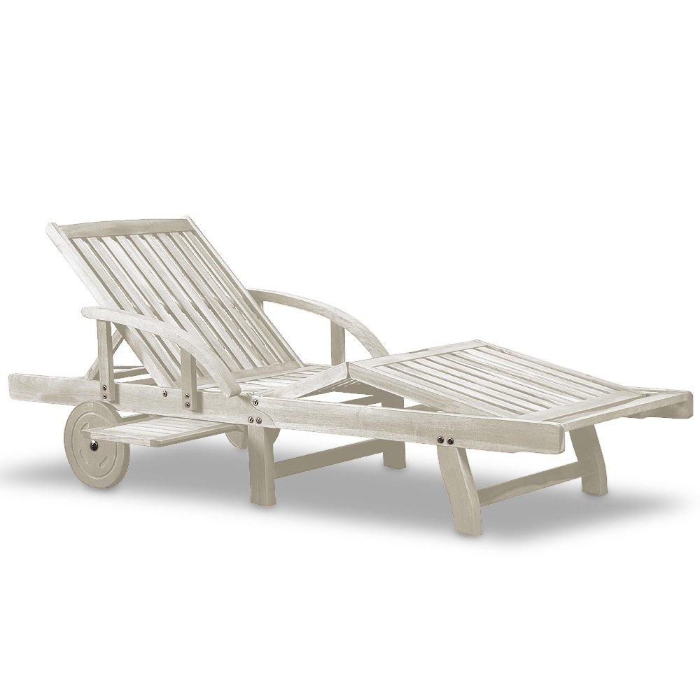 Sonnenliege Gartenliege Holzliege Freizeitliege Liege Tami Sun in weiß günstig
