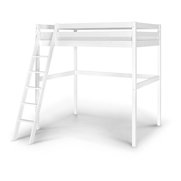 Idkid's - Letto a soppalco per 2persone, 140X 200 cm, in pino massiccio bianco