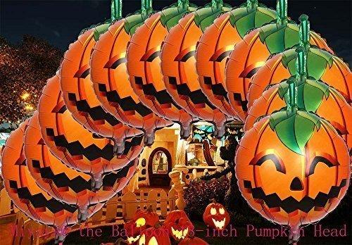 Miyaya@ the Balloon 18-inch Pumpkin Head Aluminum Film Halloween Activity Decoration Balloons Decorate Halloween- Pack of 12