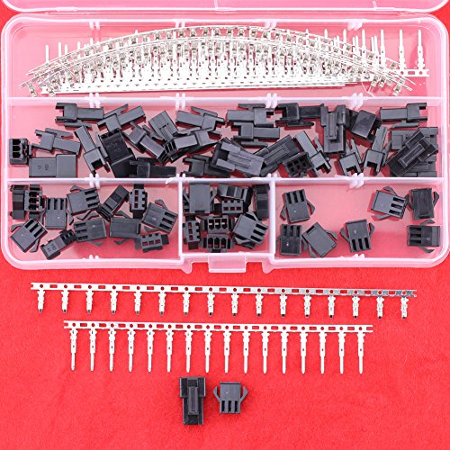 Hilitchi 240pcs(30set) 2.5mm Pitch 3-Pin JST SM Male & Female Plug Housing Male/female Pin Header Crimp Terminals Connector Kit