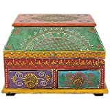 Thar Handicrafts Bangalore Brass Decorative Two Drawer Box Painted (Brass Yellow, 25.4x17.78x17.78 Cms )