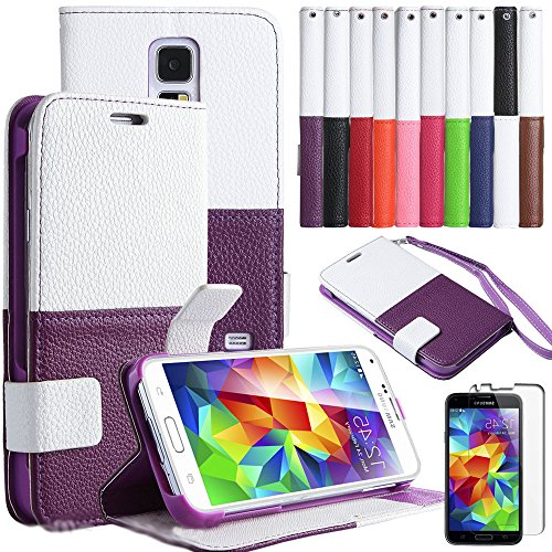 Mylife (Tm) Deep Royal Purple And White - Modern Design - Koskin Faux Leather (Card, Cash And Id Holder + Magnetic Detachable Closing + Hand Strap) Slim Wallet For New Galaxy S5 (5G) Smartphone By Samsung (External Rugged Synthetic Leather With Magnetic C