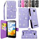 Cellularvilla Wallet Case for BLU Dash 5.0 D410A Purple Glitter Pu Leather Wallet Card Flip Open Pocket Case Cover Pouch