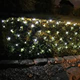 2 x Set Deal of 100 White LED Solar Powered Garden Net Light 1.5m x 0.8m by Lights4funby Lights4fun