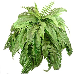 67 Leaves Realistic Boston Fern Bush Silk Plant Artificial 67t
