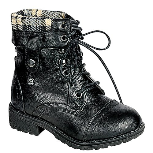 Carrie Toddler/Little Kid Plaid Chess Lace-Up Boots - Black 12 M Us Little Kid