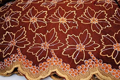 Brown, Floral Voile Design Blended Cotton Embroidery African Lace Fabric in 10 Color