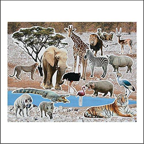 """Realistic Safari Sticker Scenes - Includes 12 Backgrounds and 12 Sticker Sheets. 11"""" X 8 1/2"""""""