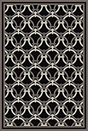 Persian Weavers 2 x 7 Hampton Exotic Chenille Dimensional Rug - Black, Fume & Chocolate