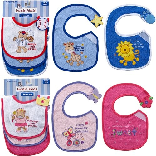 Luvable Friends 3-Pack Side-Closure, Applique & Embroidery Baby Bibs, Girl Set