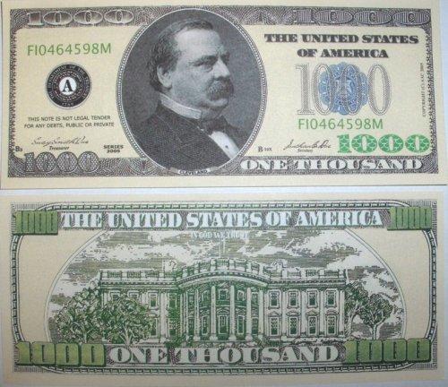 Set of 10 Bills-One Thousand Dollar Bill-Novelty Money