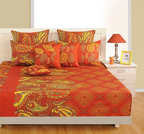 Swayam Rust And Orange Colour Ethnic Print Cotton (Satin