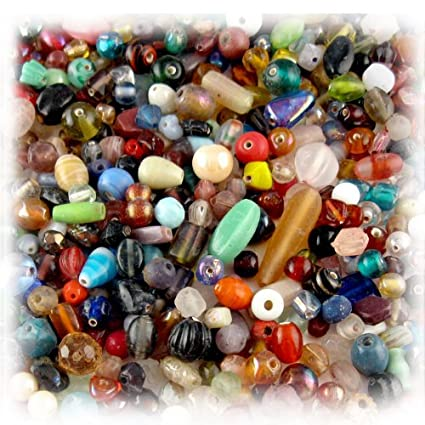 1oz=28g Bulk assorted shapes and sizes 6-12mm glass beads Mixed