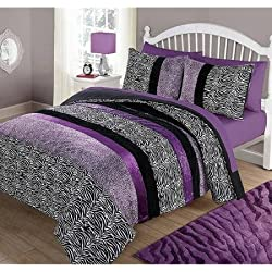 Your Zone Purple Pieced Animal Bedding Comforter Set - FULL/QUEEN