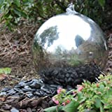 40cm Sphere Stainless Steel Garden Water Feature with LED Lights