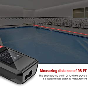 Laser Measure, BEBONCOOL Laser Tape Measure with Backlit LCD and Pythagorean Mode, Measure Distance, Area and Volume, Laser Measuring Device 98Ft - ±3mm Accuracy (Tamaño: 98ft)