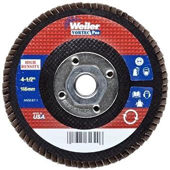 """Weiler Vortec Pro Abrasive Flap Disc, Type 27, Threaded Hole, Phenolic Backing, Zirconia Alumina, 4-1/2"""" Dia., 40 Grit (Pack of 1)"""