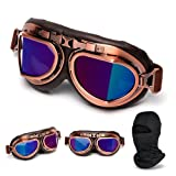 Sudoo Vintage Half Helmet Goggles Aviator Pilot Style Motorcycle Goggles for ATV Dirt Bike Scooter Riding, UV Eye Protect Sport Outdoor Goggles Glasses with Ski Face Mask (tinted) (Color: tinted)