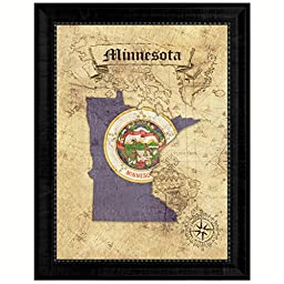Minnesota State Vintage Map Flag Art Custom Picture Frame Office Wall Home Decor Cottage Shabby Chic Gift Ideas