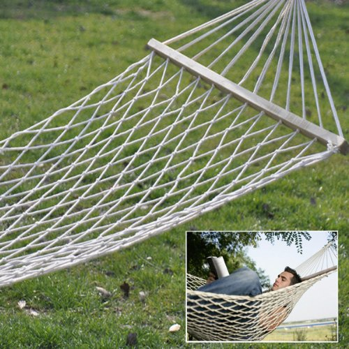 "Image® 70.7""X31.5"" White Outdoor Sleeping Camping Cotton Rope Hammock Bed Swing W/ Wood Spreader & Two Ropes front-411836"