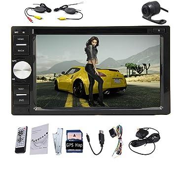 Appareil photo arrière de secours inclus 17,8cm Double 2DIN lecteur vidéo écran tactile voiture DVD GPS Navigation USB pour iPod audio stéréo Bluetooth avec microphone radio AM/FM en voiture Dash Windows 8&nb