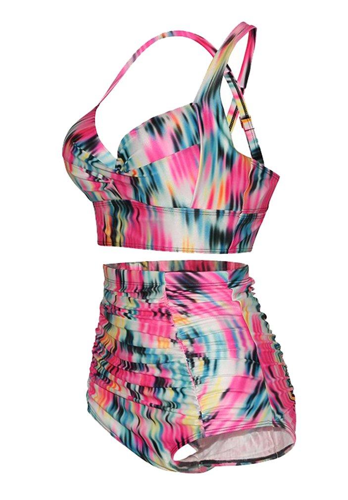 Haicoo Plus Size High Waist Vintage Retro Bikini Women Push Up Separate Swimwear 2