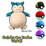 Super Jumbo Snorlax 50cm 19inch with Mystery Pokeball Bundle (Color: Red, Blue, Green, Yellow, Gray, Black, Tamaño: 19 Inches)