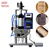 Pneumatic Hot Foil Stamping Machine with Double Column Air Operated and Foot Switch for PVC Card Leather Wood Embossing (5x7cm, 220V) (Color: 220V, Tamaño: 5x7cm)