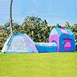 Kids Play Tent With Tunnel 3-in-1 Playhut by Unicorn Hours of Indoor Outdoor Fun for Children - Pink and Blue