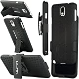 Note 3 Case, ULAK Galaxy Note 3 Case Hybrid Hard Plastic Shell Holster Combo Case Cover with Kickstand and Belt Clip Holster Case for Samsung Galaxy Note 3 Note III N9000 (Black)