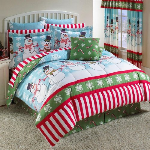 Stunning Snowman Christmas Full Comforter Set Piece Bed In A Bag
