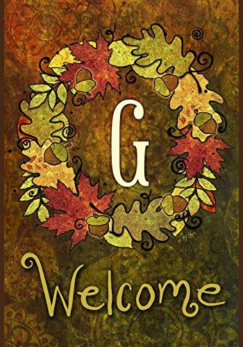 Toland Home Garden  Fall Wreath Monogram G 12.5 x 18-Inch Decorative USA-Produced Garden Flag