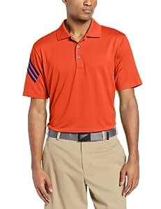 adidas Golf Men's Puremotion Climacool 3-Stripes Sleeve Polo, Bahia Coral/Vivid Blue, Small