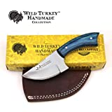 Wild Turkey Handmade Real Camel Bone Handle Fixed Blade Skinner Knife w/Leather Sheath (Blue Wood) (Color: Blue Wood)