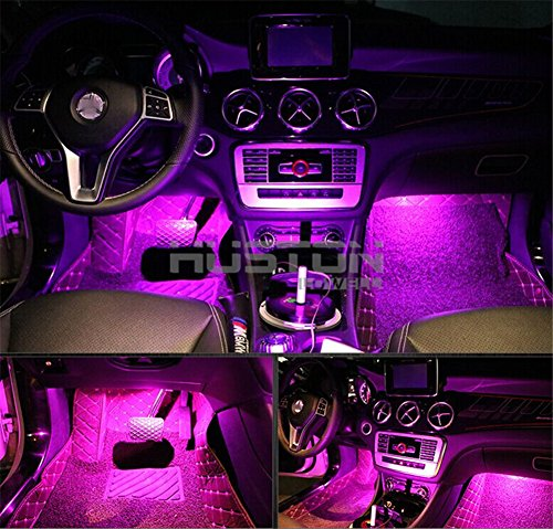 Onepalace 4Pcs Car LED Interior Underdash Lighting Kit Led Car Interior Light Auto Interior Lights Car Auto Interior LED Atmosphere Lights (Pink) (Pink Led Light Car compare prices)